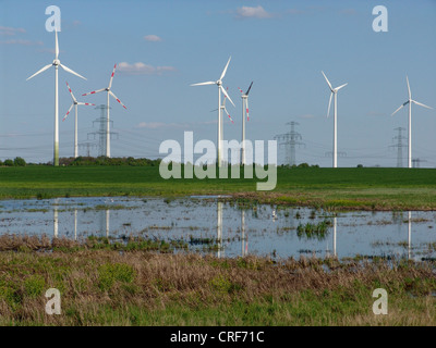landscape with wind power station and lake, Germany, Brandenburg - Stock Photo