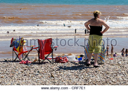 Holidaymakers Sidmouth beach summer 2012, Devon, England - Stock Photo