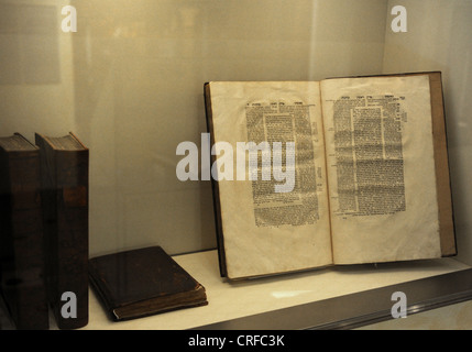 Talmud, the book containing the rabbinical discussions on Jewish law, traditions and customs. Jewish Museum Berlin. - Stock Photo