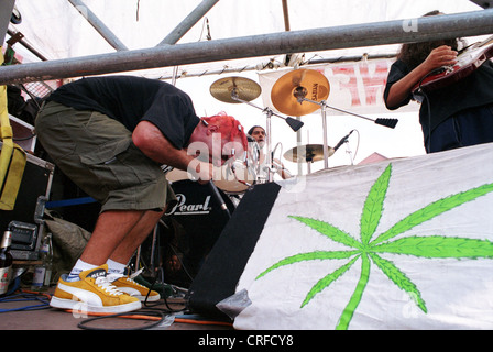 Berlin, Germany, musician with hemp poster on Hanfparade - Stock Photo