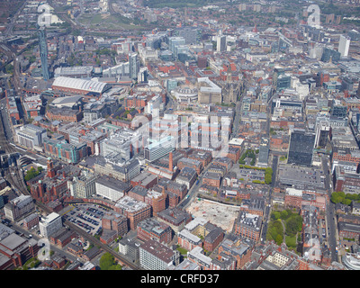 The West side of Manchester City Centre, from the air, North West England - Stock Photo