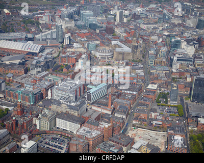The West side of Manchester City Centre, from the air, North West England, Exchange on the left, Town Hall centre - Stock Photo