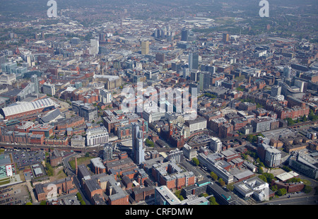 Manchester City Centre, from the air, North West England - Stock Photo
