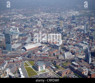 Manchester City Centre, from the air, North West England, Beetham Tower and The Exchange in the foreground - Stock Photo