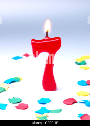 Birthday-anniversary candles showing Nr. 7 - Stock Photo