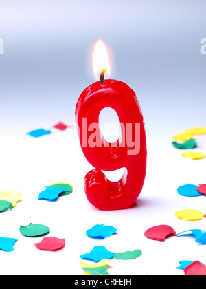 Birthday-anniversary candles showing Nr. 9 - Stock Photo