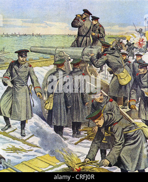 RUSSO-JAPANESE WAR 1904-1905 Russian soldiers defending Port Arthur - Stock Photo