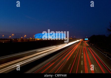 Time lapse view of Autobahn traffic - Stock Photo