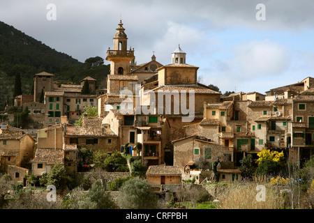 view onto Valldemossa, Spain, Balearen, Majorca - Stock Photo