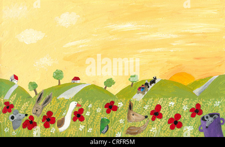Acrylic illustration of countryside landscape in the summer Stock Photo