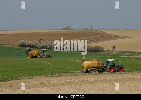 disposal of liquid manure, Germany - Stock Photo