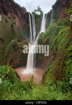 Cascades d'Ouzoud waterfall, El Abid river, Middle Atlas mountains, Morocco, Northern Africa. - Stock Photo