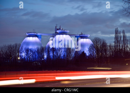 digestion towers of  waste water treatment plant Emscher, Germany, North Rhine-Westphalia, Bottrop - Stock Photo