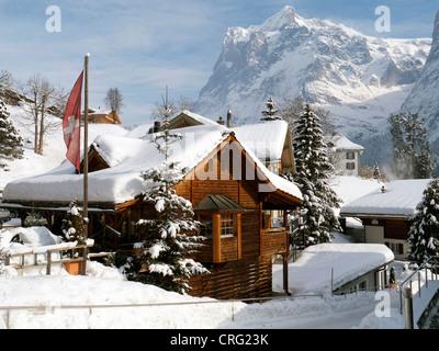 Grindelwald skiing region in Interlaken-Oberhasli Switzerland - Stock Photo