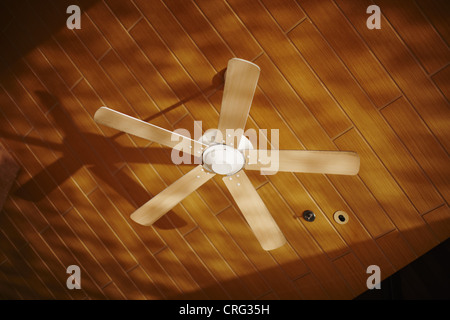 Wooden ceiling fan casting shadows - Stock Photo