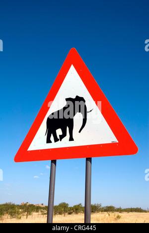 traffic sign, caution elephants, Namibia - Stock Photo