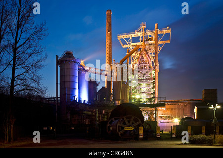 illuminated Henrichshuette steelworks, Germany, North Rhine-Westphalia, Ruhr Area, Hattingen - Stock Photo