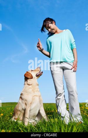 dog trainer teaching her dog - Stock Photo