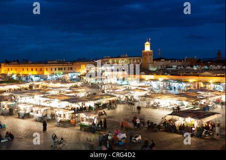 View of the Djemaa El Fna square at nighttime, Marrakech, Morocco. - Stock Photo