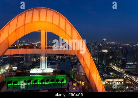 Red Sky Bar, one of the multiple rooftop bars in Bangkok, Thailand - Stock Photo