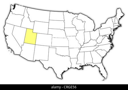Map of United States where Utah is highlighted Stock Photo