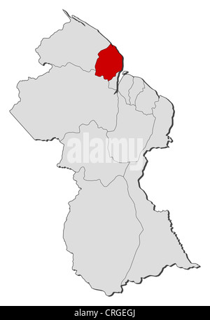 Guyana regions map black country illustration stock vector art political map of guyana with the several regions where cuyuni mazaruni is highlighted sciox Images