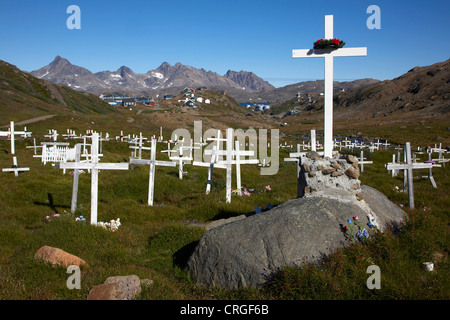 graves on cemetery, Greenland, Ammassalik, East Greenland, Tasiilaq - Stock Photo