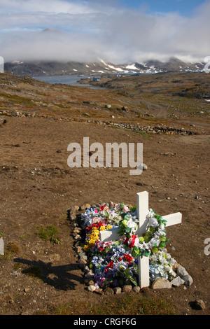 grave on cemetery, Greenland, Ammassalik, East Greenland, Kulusuk, Kap Dan - Stock Photo