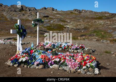 graves on cemetery, Greenland, Ammassalik, East Greenland, Kulusuk, Kap Dan - Stock Photo