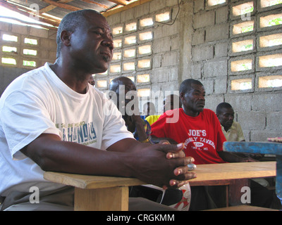 civil personal of the 'United Nations Stabilisation Mission in Haiti' meeting local population at a school, Haiti, - Stock Photo