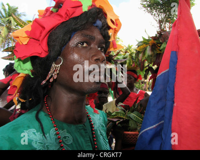 black man dressed like a woman, celebrating carneval with traditional costumes, Haiti, Grande Anse, Abricots - Stock Photo