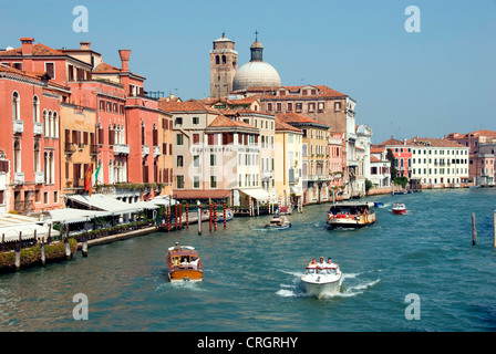 Canal Grande, view from Ponte degli Scalzi, with church San Geremia, Italy, Veneto, Venice - Stock Photo