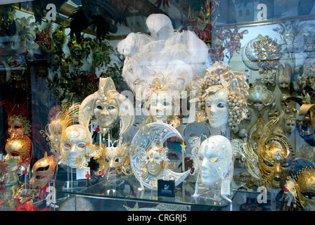 masks in shopwindow, Italy, Veneto, Venice - Stock Photo
