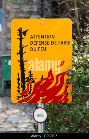 forest fire warning sign, Switzerland, Valais, Sion - Stock Photo