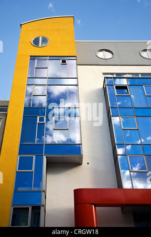 modern architecture in Dortmund downtown, clouds reflecting in the cladding, Germany, North Rhine-Westphalia, Ruhr - Stock Photo