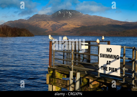 View of Ben Lomond from the pier at Luss, Loch Lomond, Scotland, UK, Great Britain - Stock Photo