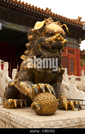 Chinese guardian lion statue at Imperial Palace, Forbidden City, Beijing, China