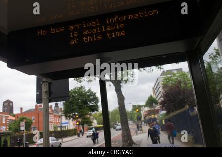 Denmark Hill, London 22/6/12. An unhelpful dot matrix information sign for non-existant passengers inside a bus - Stock Photo