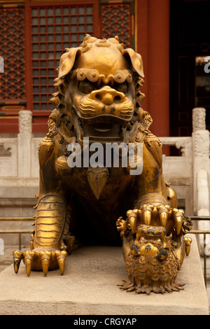 Chinese guardian lion statue at Forbidden City, Beijing, China