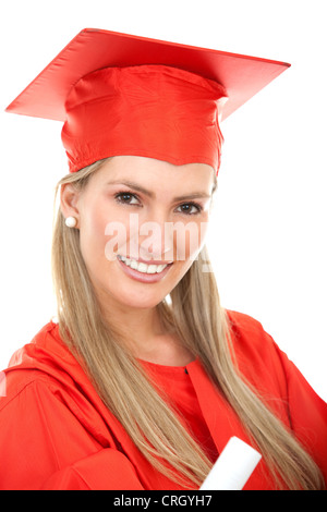 beautiful female graduate in a red gown and mortarboard, holding her diploma - Stock Photo
