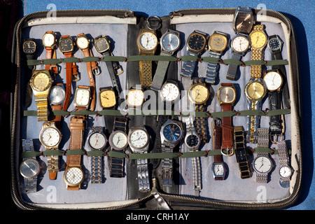 Wristwatches for sale at Panjiayuan flea market, Beijing, China, Asia - Stock Photo