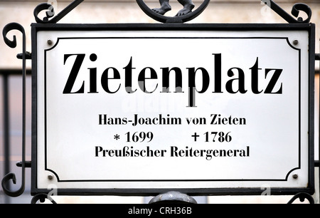 Berlin, Germany. Zietenplatz - sign. Square named after Hans-Joachim von Zieten (1699-1786), Prussian Cavalry General - Stock Photo