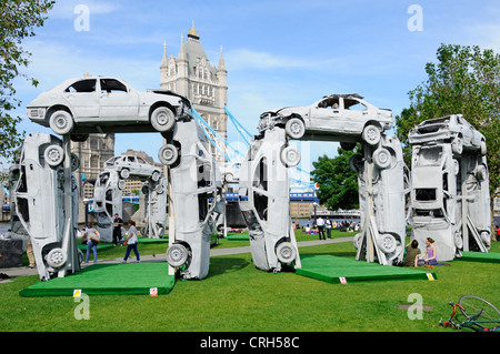 CitiHenge 2012 replica sculpture of Stonehenge, project undertaken by Skoda and built using 18 scrap cars - Stock Photo