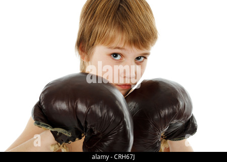 Young Boy Boxer with Boxing Gloves on white - Stock Photo