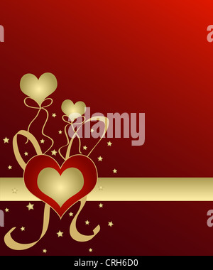 Heart and balloons in gold on red - Stock Photo