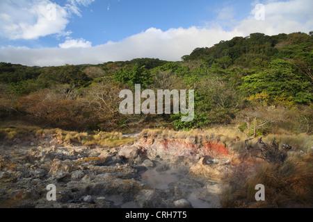 Volcanic fumaroles. Las Pailas trail, Rincon de la Vieja National Park, Guanacaste, Costa Rica. February 2012. - Stock Photo