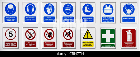 Building site health and safety and warning signs. Panoramic - Stock Photo
