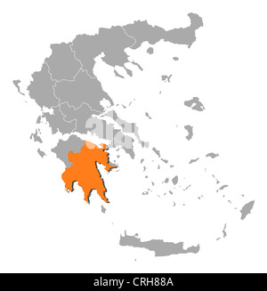 Political map of Greece with the several states where Peloponnece is highlighted. - Stock Photo
