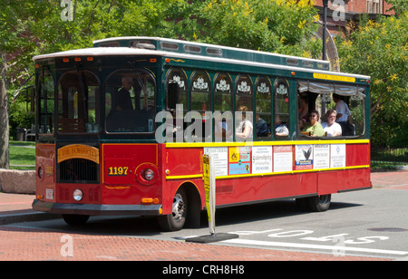 City tour bus in Salem, Essex County, Massachusetts, USA - Stock Photo