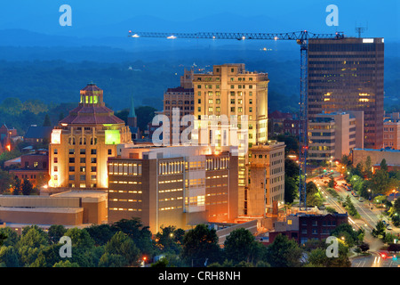 Downtown Asheville, North Carolina's city hall and courthouse building amoung other notable structures. - Stock Photo